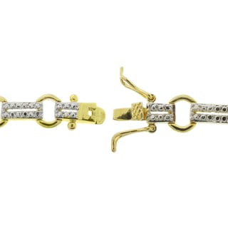 Dolce Giavonna 18k Gold Overlay Gemstone and Diamond Accent Two-tone Circle Bracelet