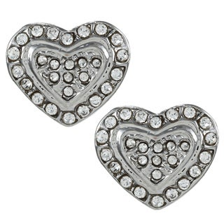 Alexa Starr Silvertone Rhinestone Pave Heart Earrings