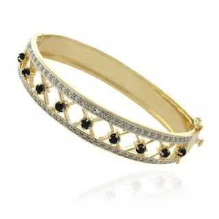 Dolce Giavonna 18k Gold Overlay Sapphire and Diamond Accent 'XO' Bangle