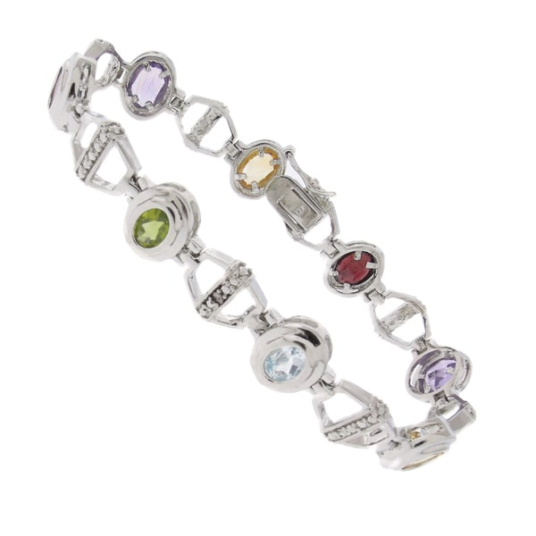 Dolce Giavonna Silver Overlay Gemstone and Diamond Accent Oval Link Bracelet
