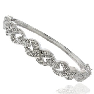 Finesque Silver Overlay 1/4ct TDW Diamond Bangle