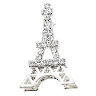 Silvertone Crystal Eiffel Tower Pin/ Pendant