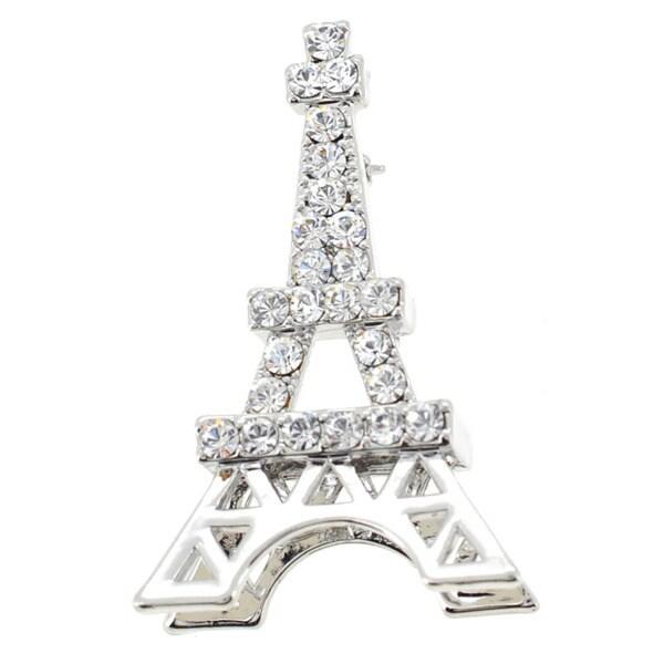 Silvertone Crystal Eiffel Tower Pin/ Pendant