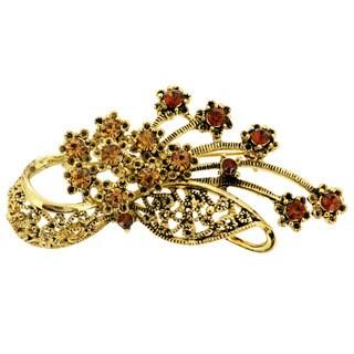 Goldtone Brown Crystal Flower Basket Pin Brooch