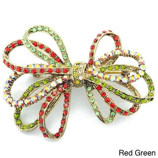 Goldtone Multi-colored Crystal Bowknot Pin Brooch