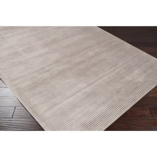 Hand-crafted Beige Solid Casual Cabot Rug (8' x 11')