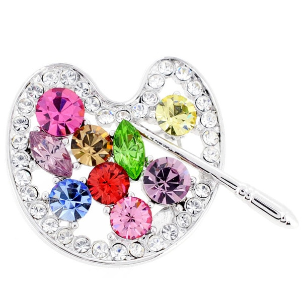 Silvertone Multi-colored Crystal Paint Palette Pin/ Pendant