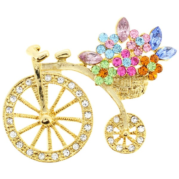 e9f6db3bb1f Shop Goldtone Multi-crystal Crystal Bicycle with Flower Basket Pin ...