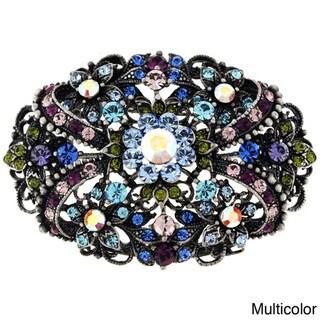 Silvertone Multi-colored Crystal Flourish Pin/ Pendant