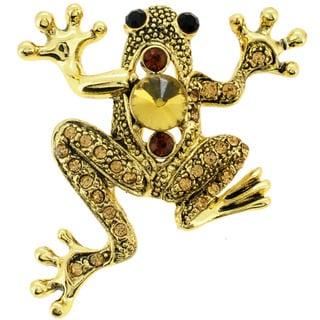 Goldtone Brown Crystal Frog Pin Brooch