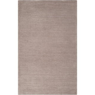 Hand-crafted Beige Solid Casual Cabot Rug (5' x 8')