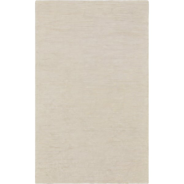 Hand-crafted Ivory Solid Causal Calais Area Rug - 5' x 8'