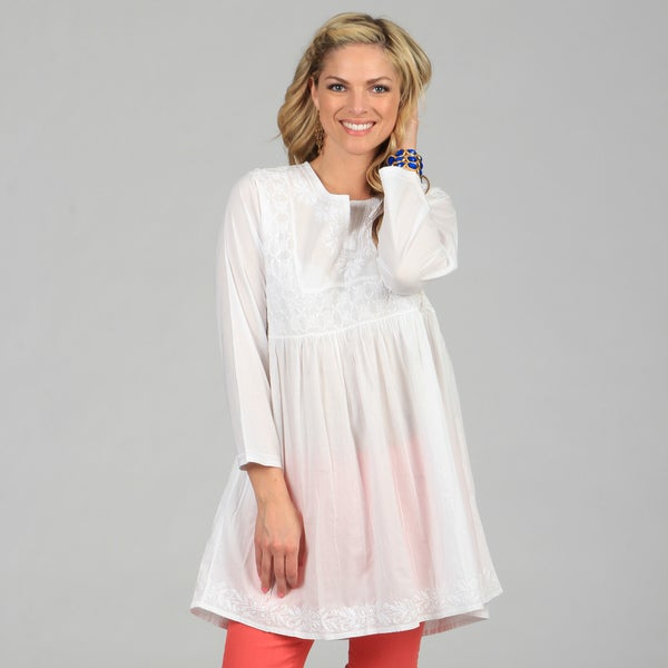 KC Signatures Women's White Hand-Embroidered Empire-Waist Cotton Tunic ...