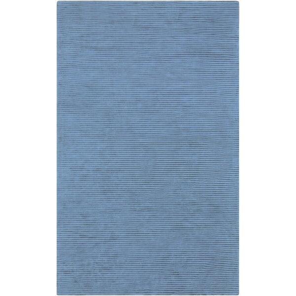 Hand-crafted Blue Solid Casual Essex Area Rug (5' x 8')