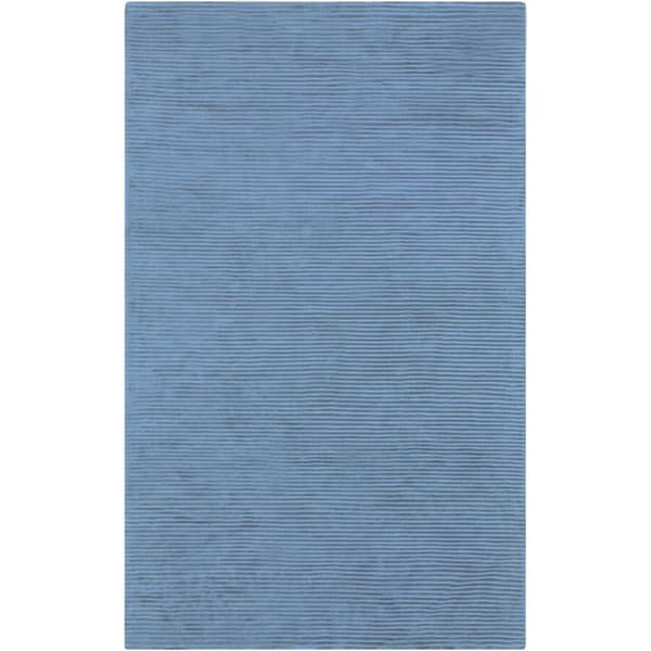 Hand-crafted Blue Solid Casual Essex Area Rug - 5' x 8'