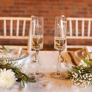 Cathy's Concepts Mr. and Mrs. Contemporary Champagne Flutes