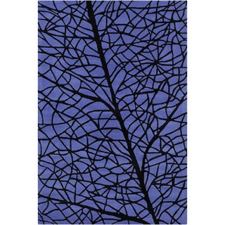 Allie Handmade Abstract Blue/ Black Wool Rug (5' x 7'6)