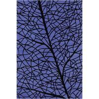 Allie Handmade Abstract Blue/ Black Wool Rug - 5' x 7'6