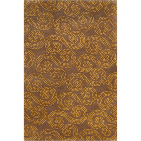 Allie Handmade Abstract Brown/ Gold Wool Rug - 5' x 7'6