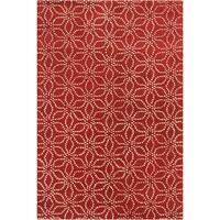 Allie Handmade Floral Red Wool Rug