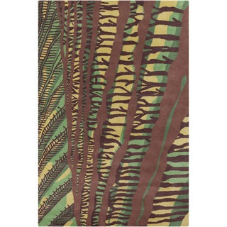 Allie Handmade Green/Brown Abstract Wool Rug (5' x 7'6)