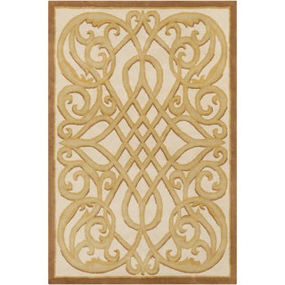 "Allie Handmade Abstract Cream Latex Wool Rug (5' x 7'6"")"
