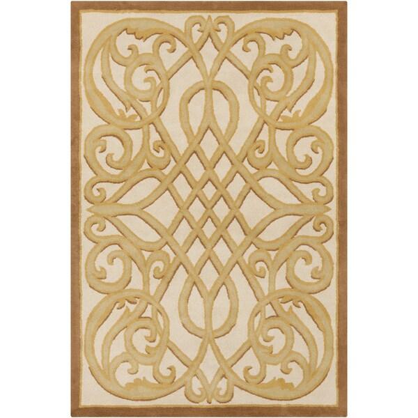 "Allie Handmade Abstract Cream Latex Wool Rug - 5' x 7'6"""