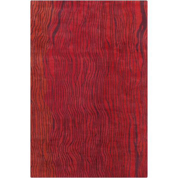 Allie Handmade Abstract Red Wool Rug - 5' x 7'6