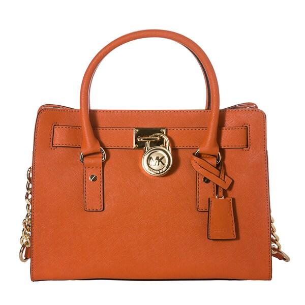MICHAEL Michael Kors 'Hamilton East West' Orange Saffiano Leather Small Satchel Bag