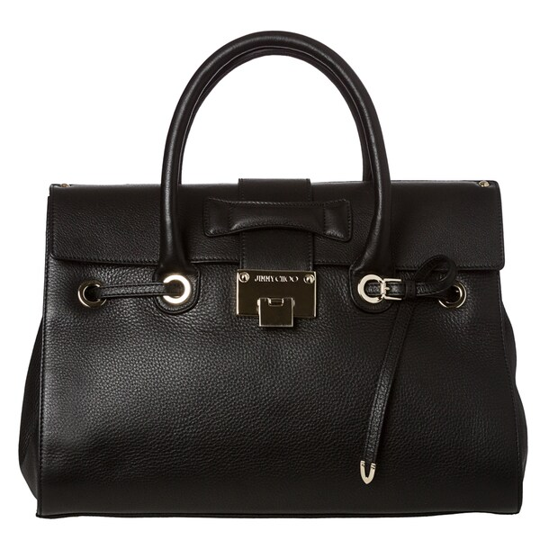Jimmy Choo 'Rosalie' Black Grainy Leather Satchel Handbag