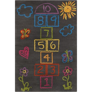 Allie Handmade Kids Grey Wool Rug (5' x 7'6)