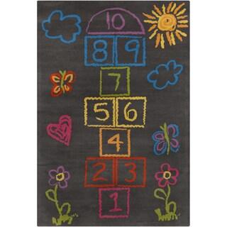 Allie Handmade Kids Grey Wool Rug (5' x 7'6)