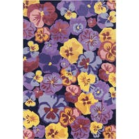 Allie Handmade Multicolor Floral Wool Rug - multi - 5' x 7'6
