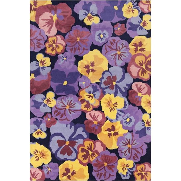 Allie Handmade Multicolor Floral Wool Rug - 5' x 7'6