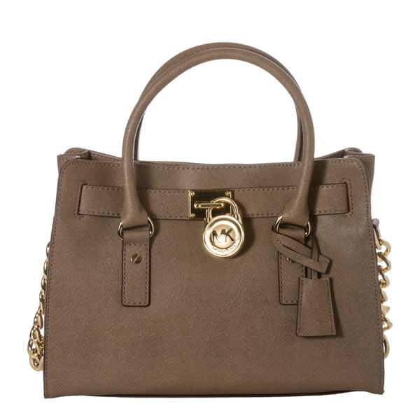 eb487468bdaf Shop MICHAEL Michael Kors 'Hamilton East West' Dark Dune Saffiano Leather  Small Satchel Bag - Free Shipping Today - Overstock - 7662486