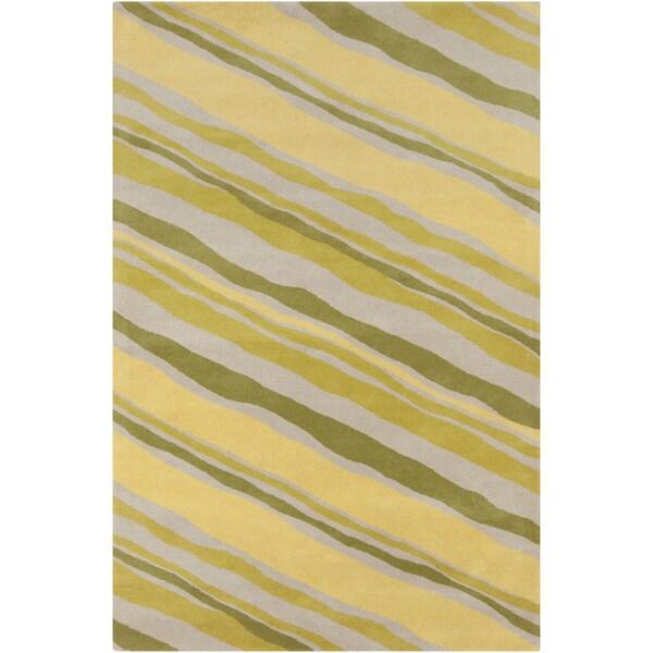 Allie Handmade Abstract Green Wool Rug - 5' x 7'6