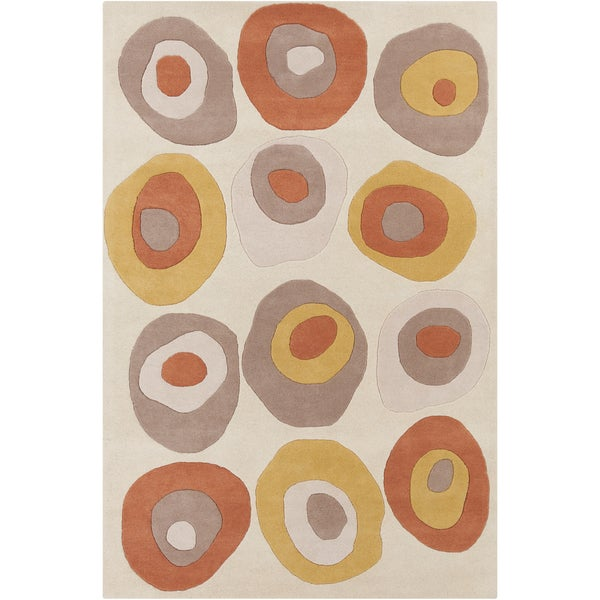"Allie Handmade Geometric Cream Rectangular Wool Rug (5' x 7'6"")"