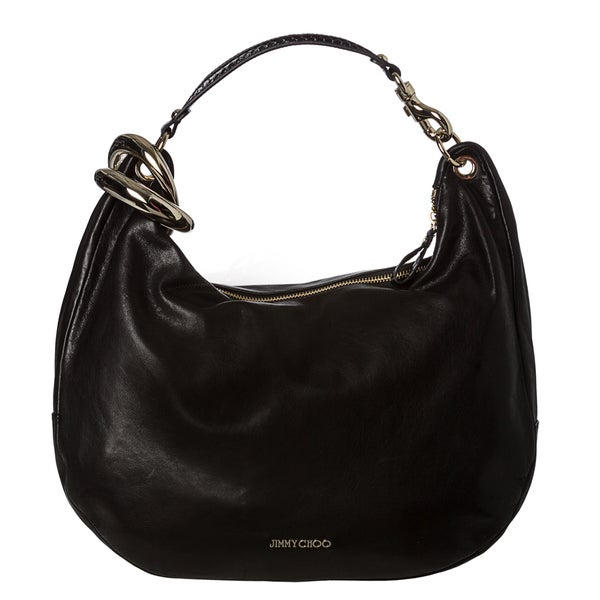 Jimmy Choo 'Solar' Black Leather Hobo Handbag