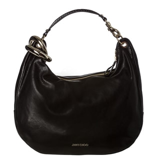 Jimmy Choo 'Solar' Black Leather Hobo Handbag