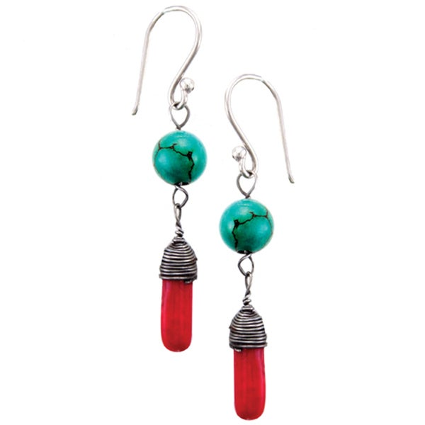 Sterling Silver Turquoise and Coral Amulet Earrings (Nepal)