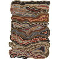 The Curated Nomad Alvarado Novelty Orange Handmade Wool Rug - 2' x 3'