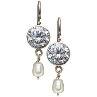 Sterling Silver Clear Cubic Zirconia Diamond and Pearl Earrings (Nepal)