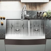 "VIGO 36"" Bingham Stainless Steel Double Bowl Farmhouse Kitchen Sink, Two Grids And Two Strainers"