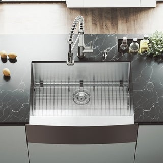 VIGO 30-inch Bedford Stainless Steel Farmhouse Sink, Grid and Strainer