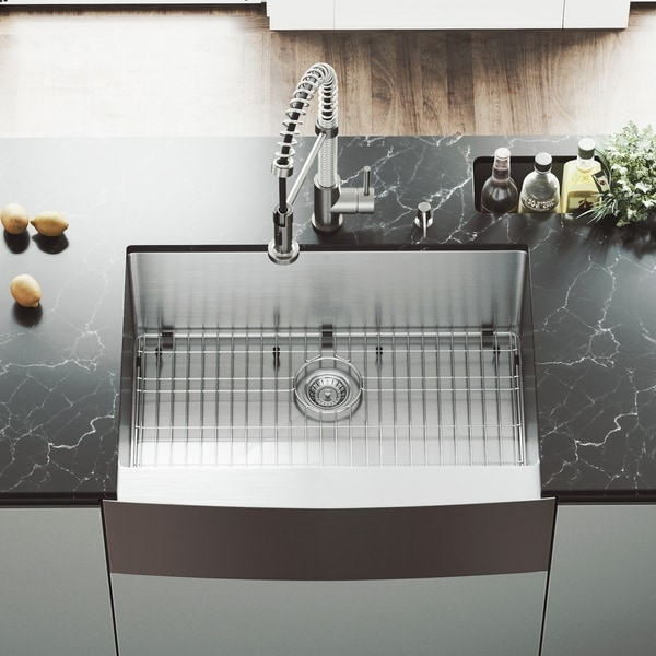 VIGO Bedford 30-inch Stainless Steel Kitchen Sink, Grid and Strainer. Opens flyout.