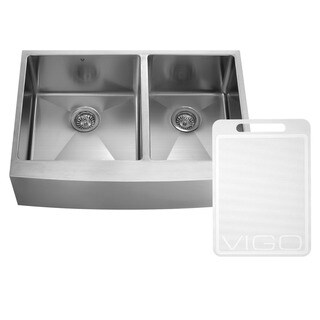 vigo 36inch farmhouse stainless steel 16 gauge double bowl kitchen sink with rounded edge - Stainless Farmhouse Sink
