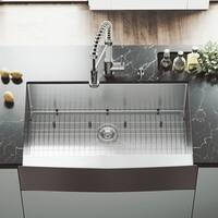 VIGO Bedford 36-inch Farmhouse Kitchen Sink, Grid and Strainer