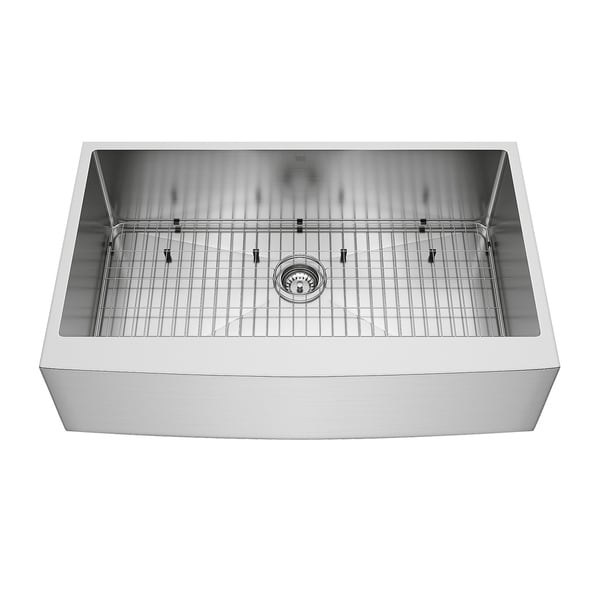 VIGO 36 Inch Bedford Stainless Steel Farmhouse Sink, Grid And Strainer