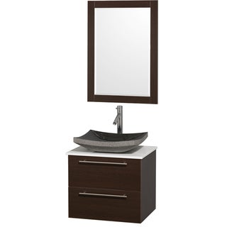 Wyndham Collection Amare Espresso White Man Made Top/ Black Granite Sink 24-inch Single Bathroom Vanity