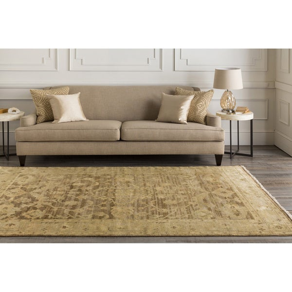 Hand-knotted Tinmouth Brown Wool Area Rug (2' x 3')